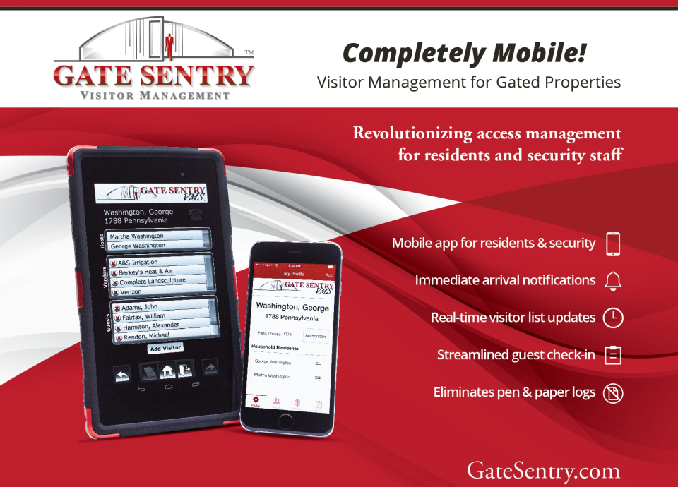 Gate Sentry is a visitor check-in and guest management system for guarded or gated properties that leverages a mobile app for iOS or Android to let residents customize visitor lists in real time