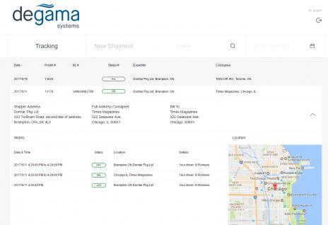 Degama DTMS shipment tracking