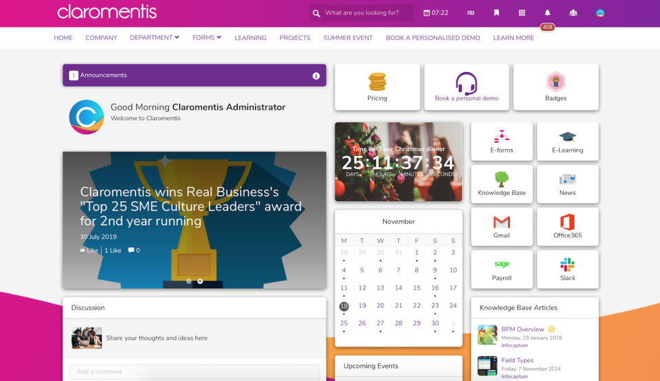 Digital workplace homepage, created using our drag & drop CMS and intranet design tools