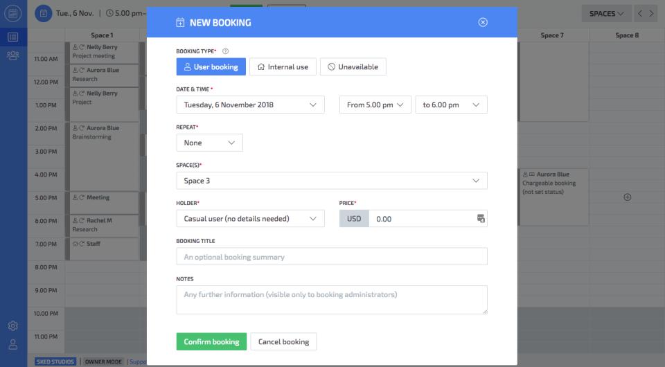 Skedda new user booking screenshot
