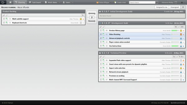 Users can view tasks assigned to themselves, unassigned tasks, or all tasks in SprintGround