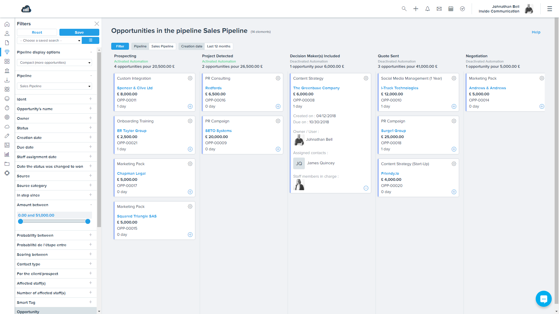 """Sellsy screenshot: Sellsy Deals Pipeline: Let your sales team move prospects through each stage of the buyer journey with ease, and include others in the process to collaborate on """"complex"""" deals."""