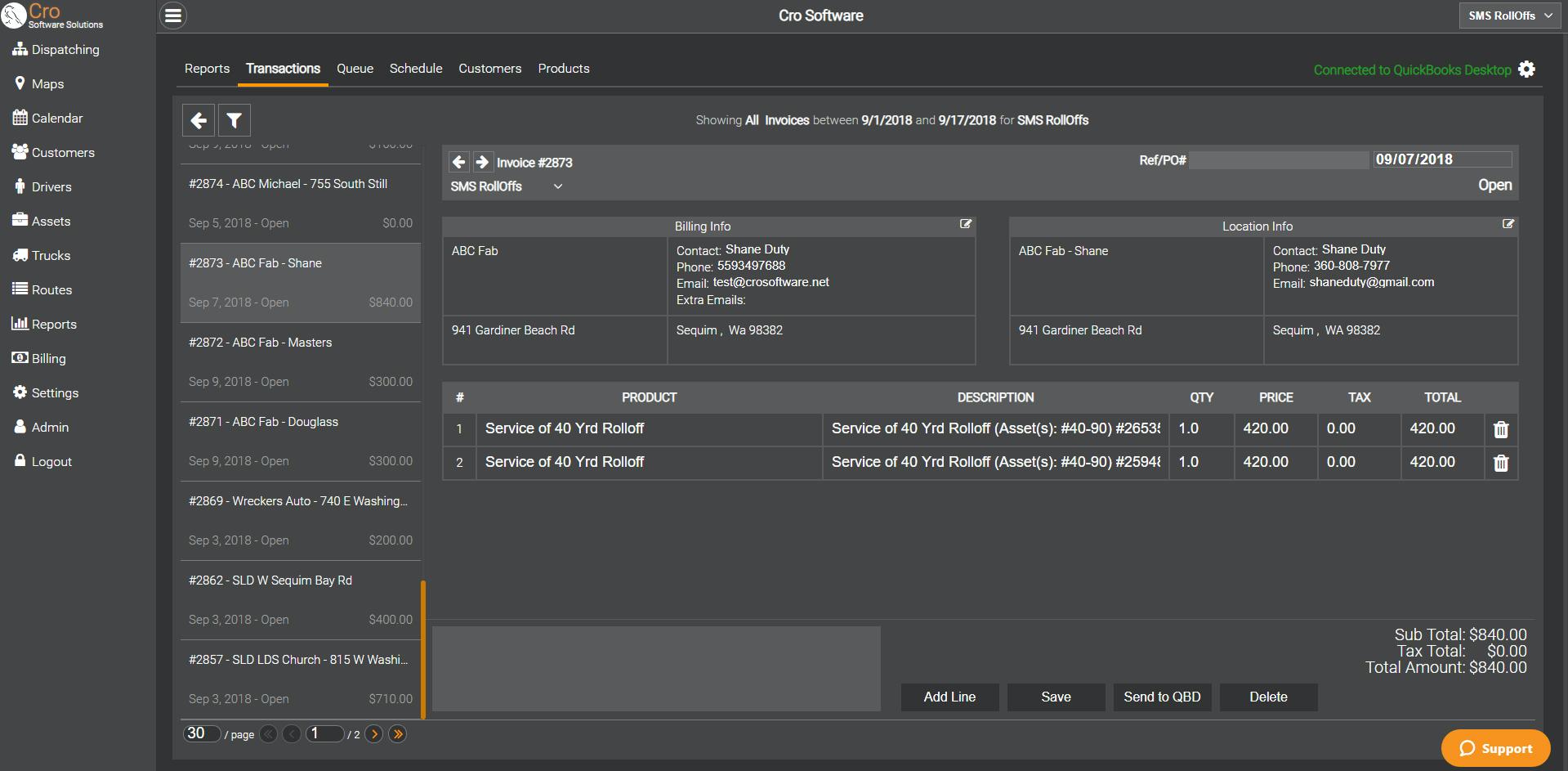 CRO Software transactions page screenshot