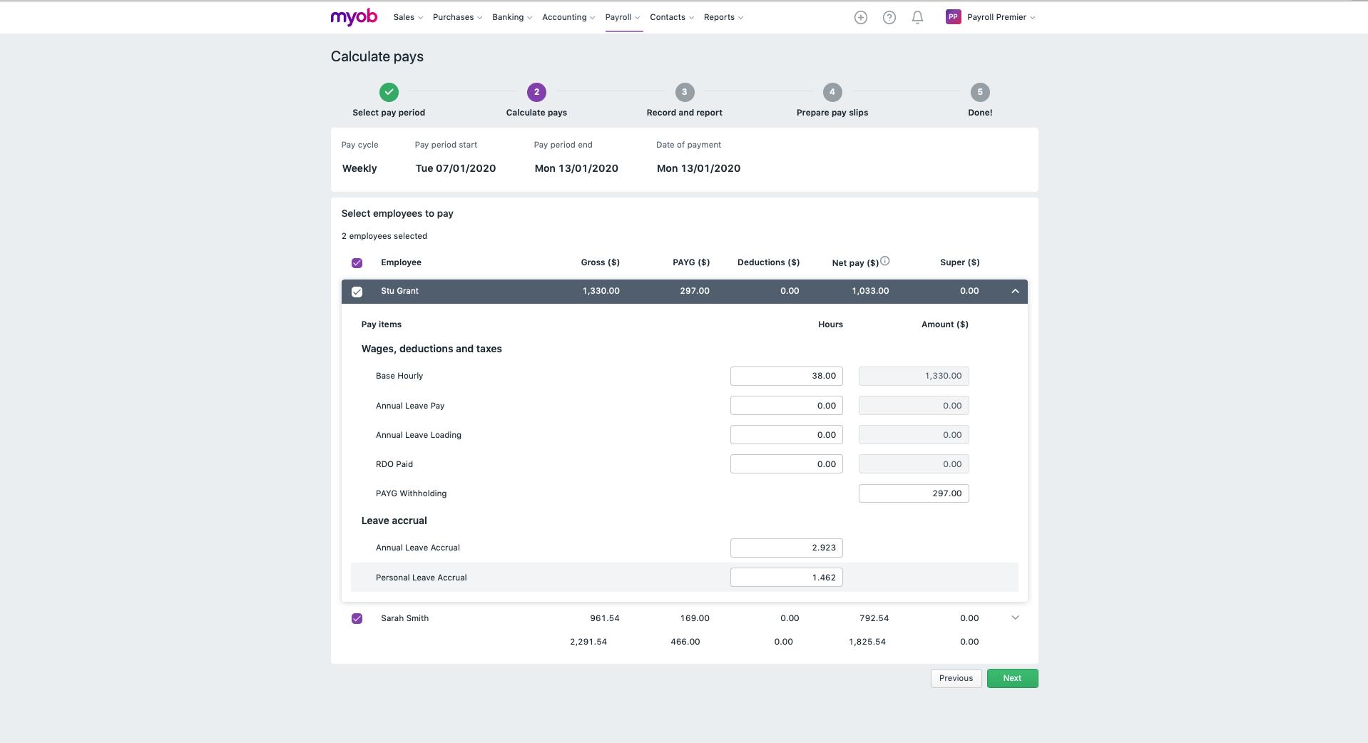 MYOB Essentials Software - Pay run