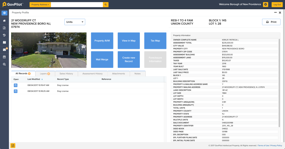 GovPilot property profile screenshot