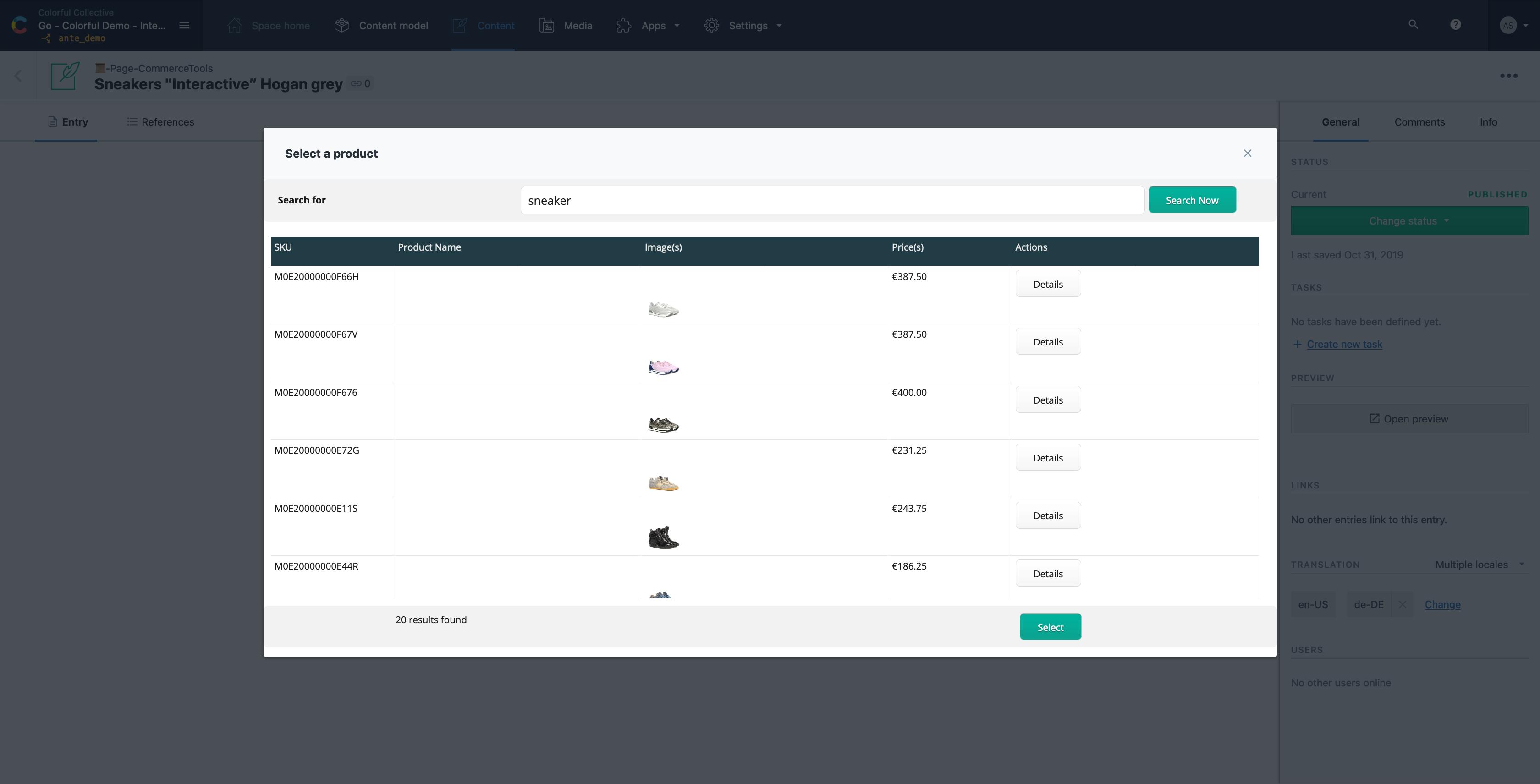 Contentful - sneaker web commerce tools