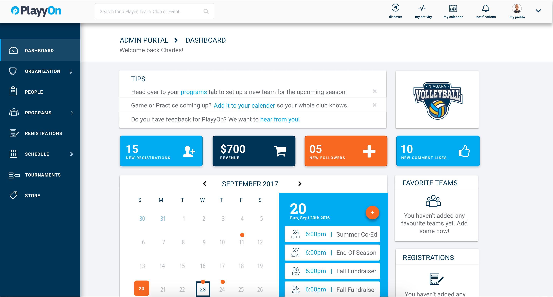 PlayyOn Software - Dashboard