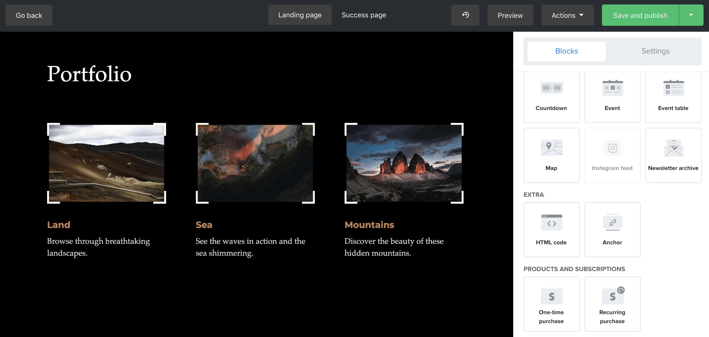 MailerLite screenshot: Landing page editor
