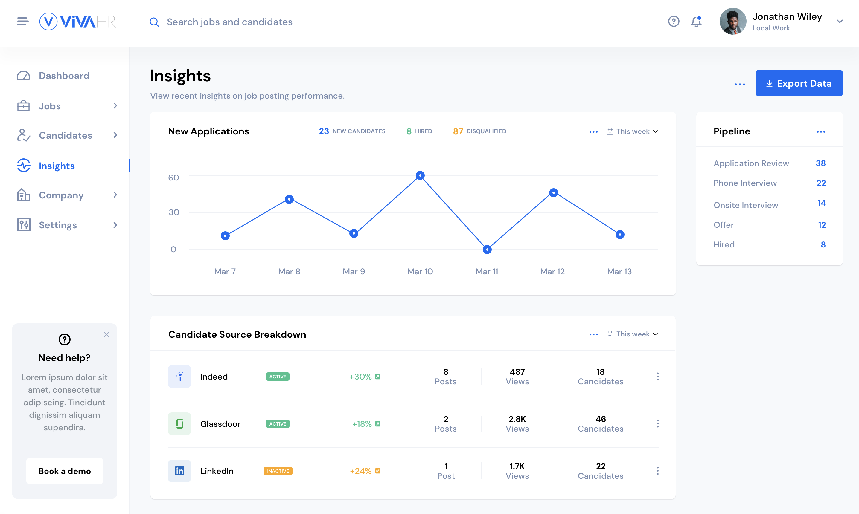 Customize your reports and insights to get a clear view on your hiring progress.