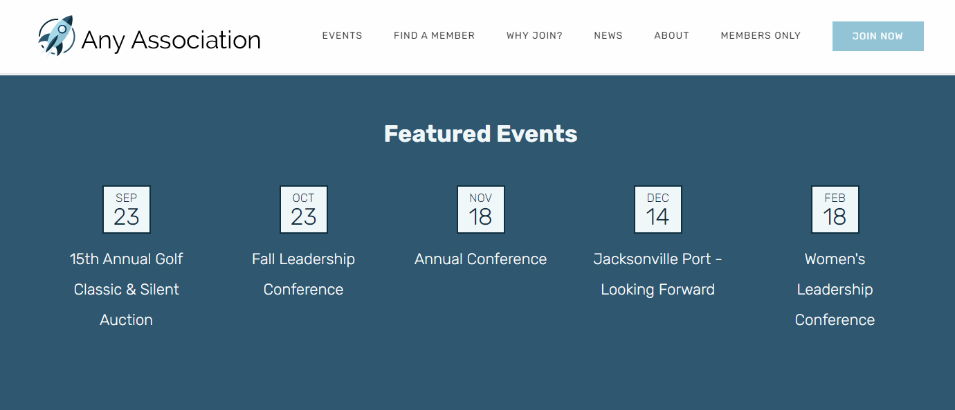 Membee Software - Display featured event feeds on your website that automatically updates when events are created and go