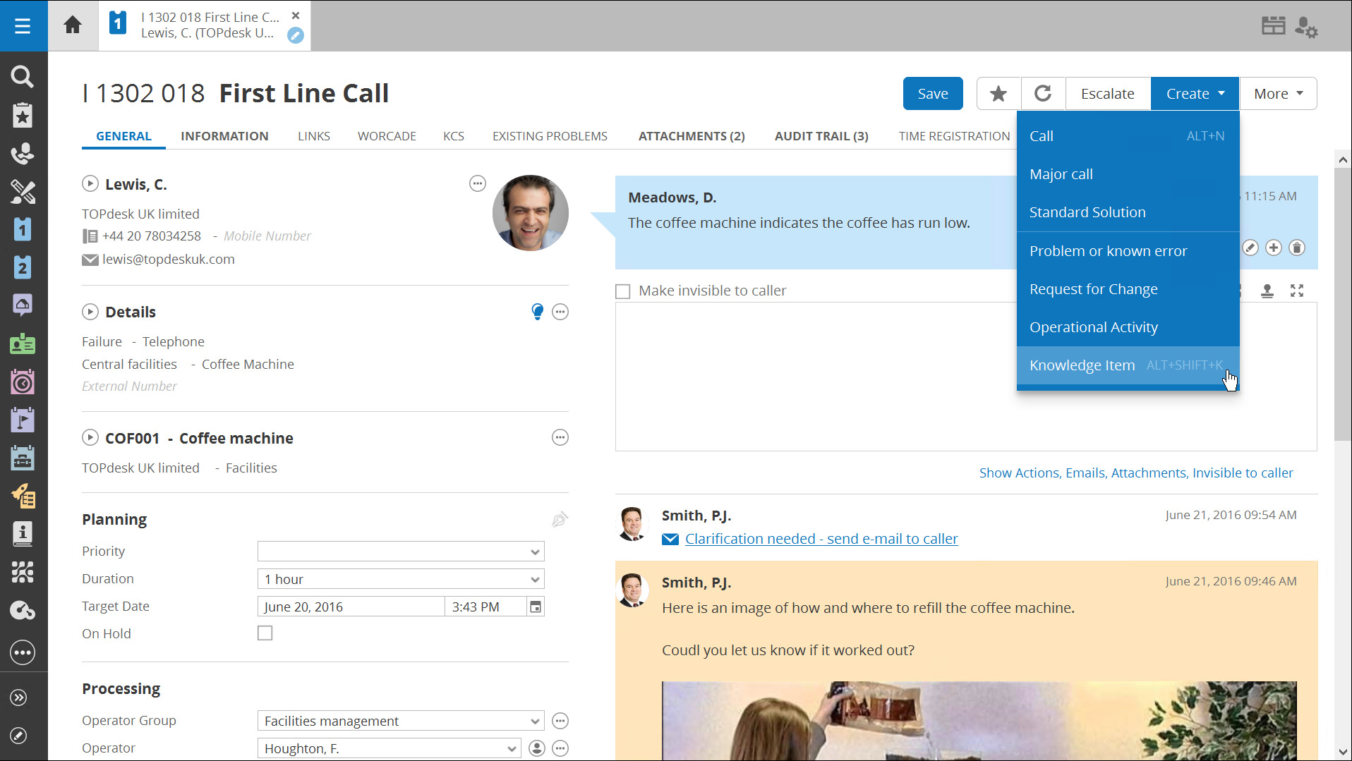 TOPdesk call management