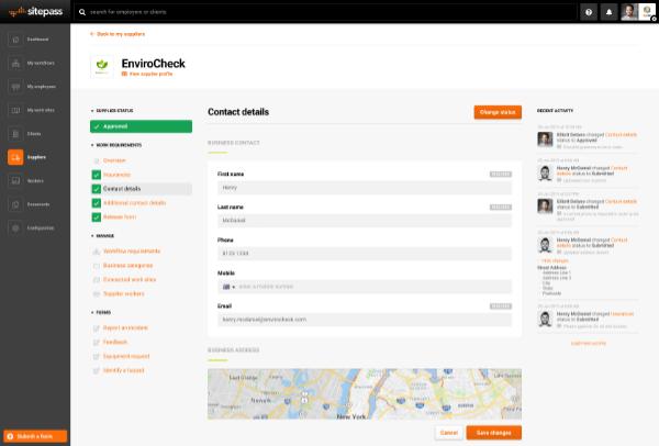 SitePass supplier information