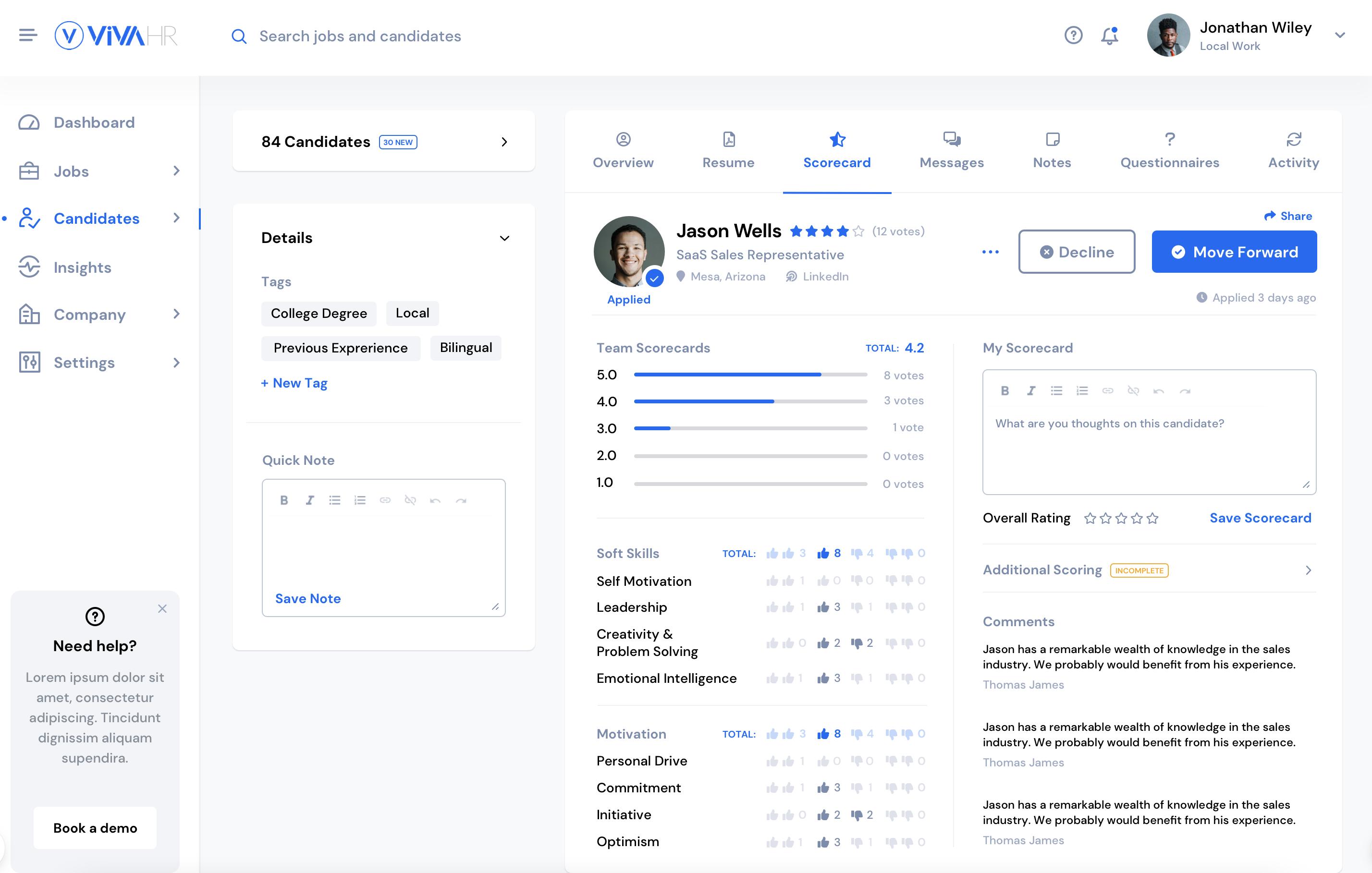 Build unique hiring scorecards to measure each candidate against what matters most.