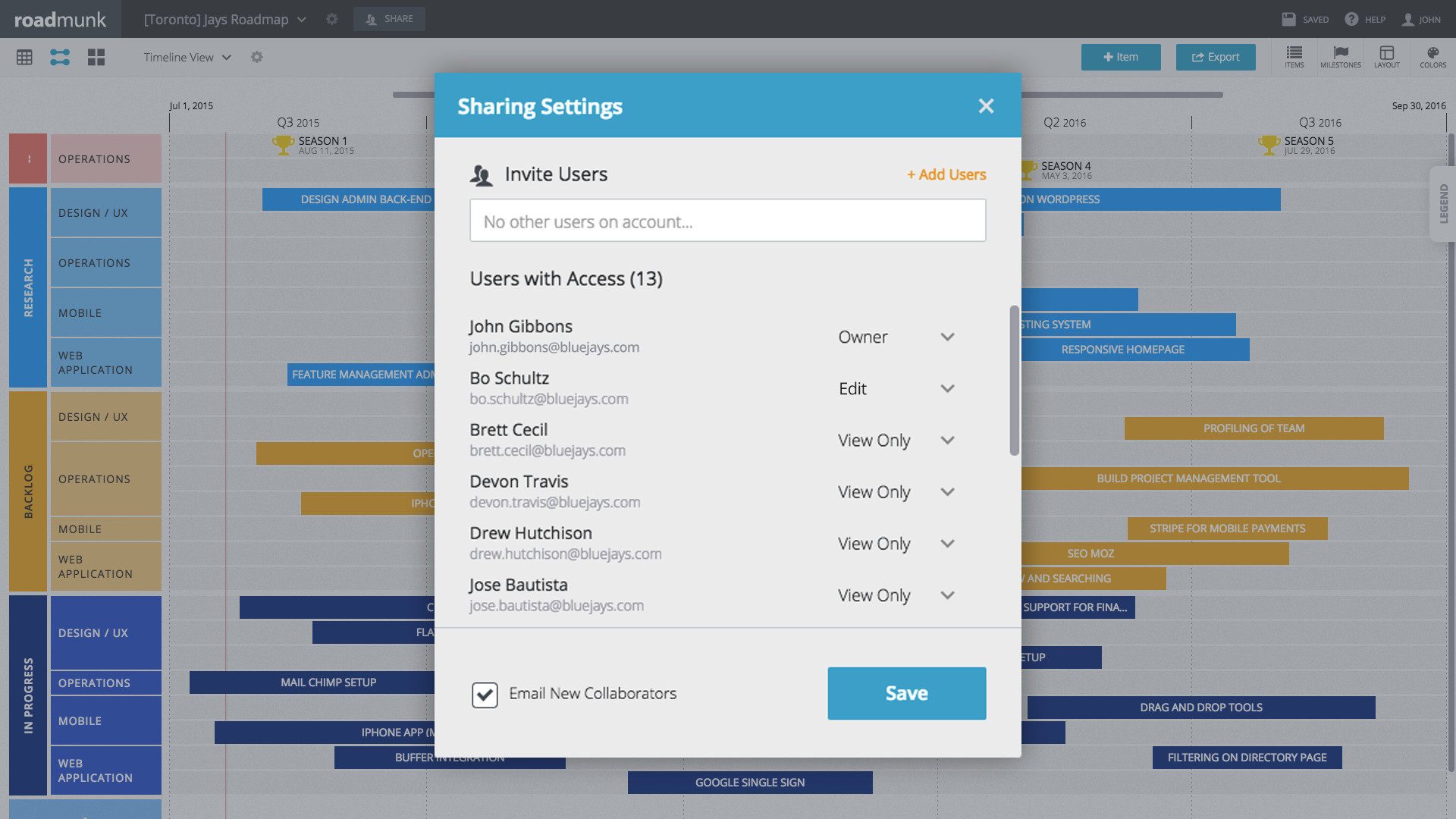Assign users as either an editor, viewer, or owner of the roadmap