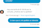 Smith.ai screenshot: Chats between Spanish-speaking website visitors and English-speaking agents are automatically translated.