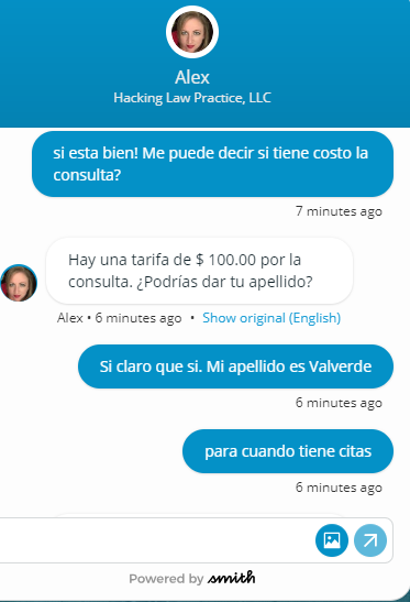 Chats between Spanish-speaking website visitors and English-speaking agents are automatically translated.