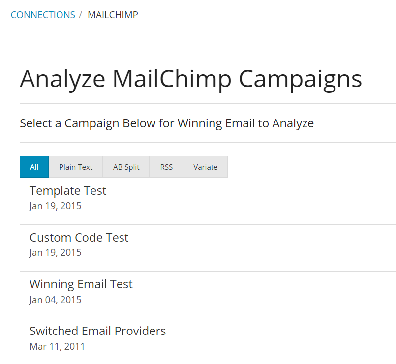 Winning Email Software - MailChimp analysis