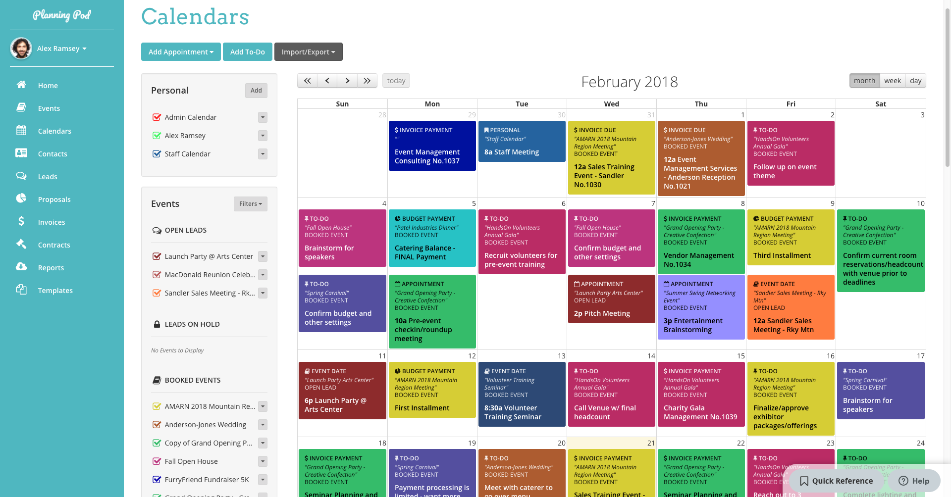 Planning Pod calendars