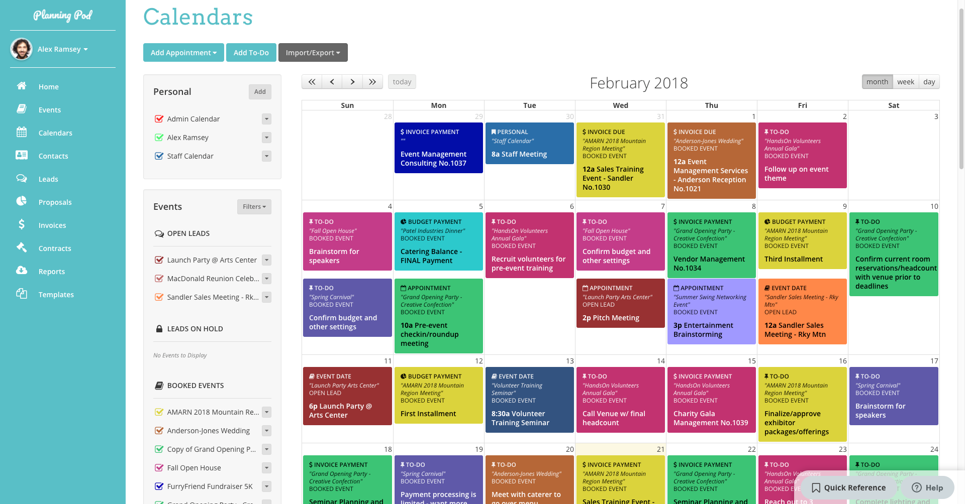 Planning Pod Software - Planning Pod calendars