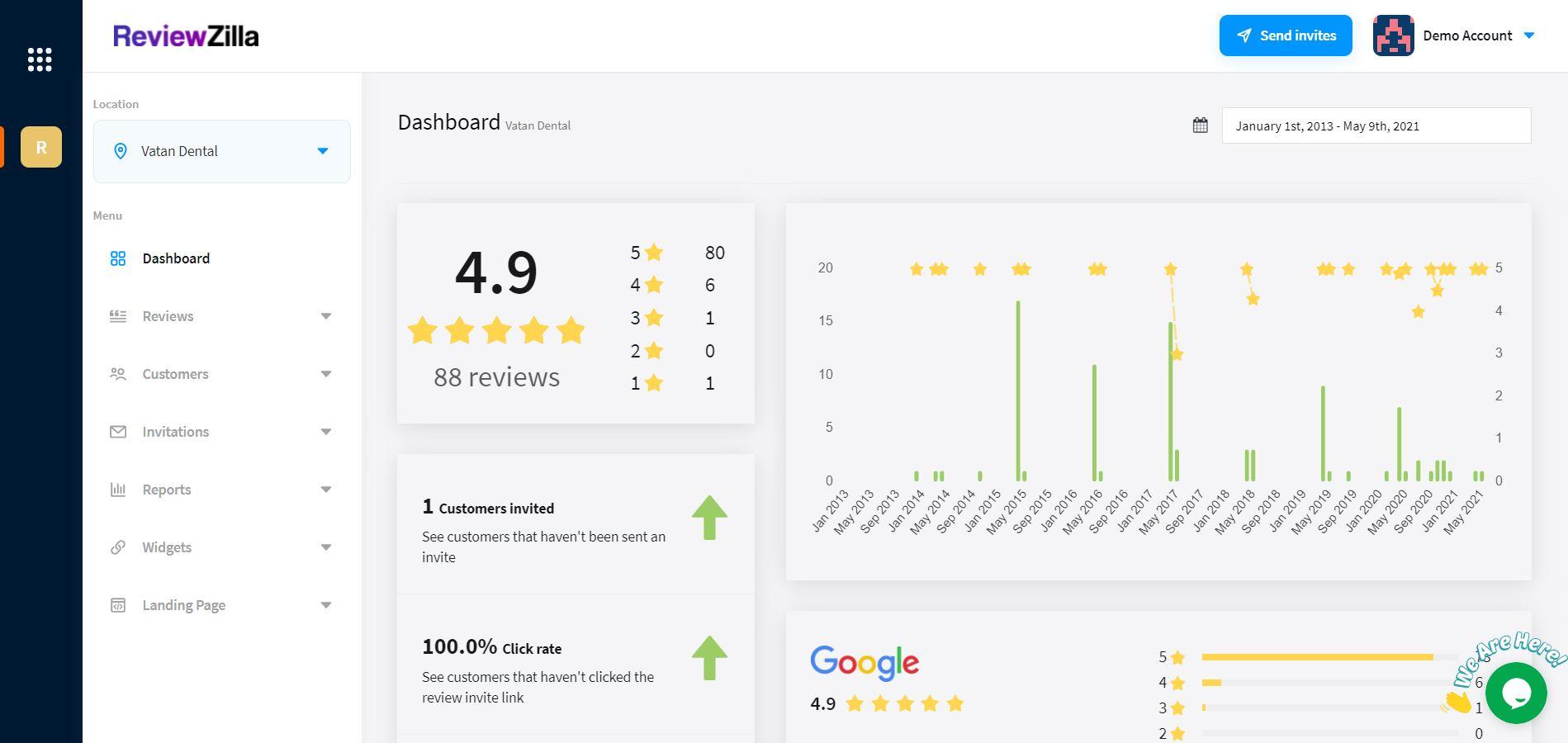 ReviewZilla dashboard