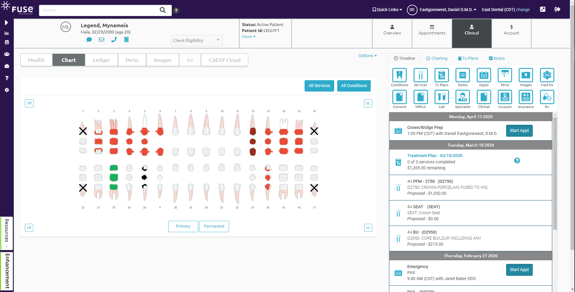 Clinical charting. View and display treatment history for a specific tooth or range of teeth. Make charting faster with quick buttons and a modern, user-friendly and interactive interface.