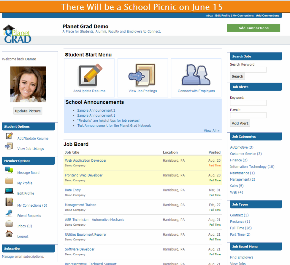 Student profile allows tracking placement records and helps to build alumni database