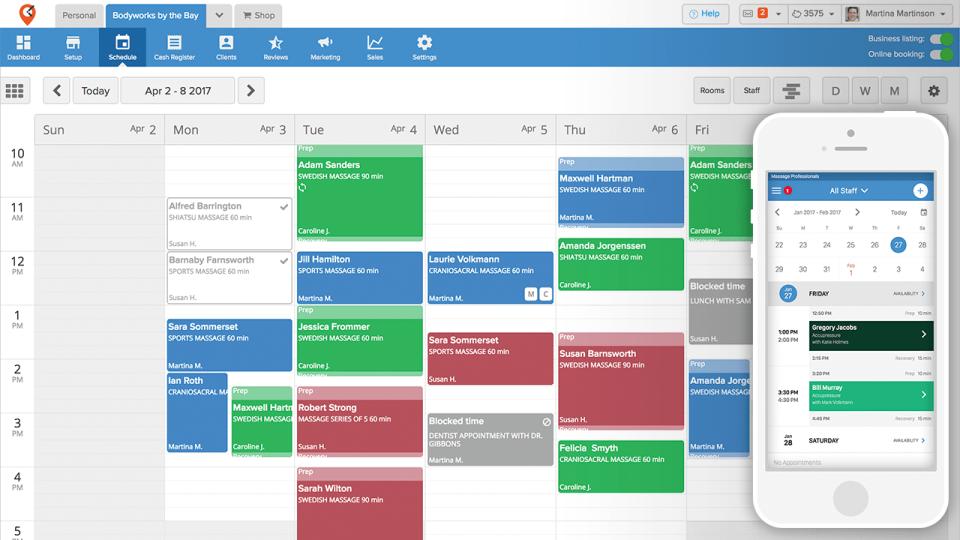 MassageBook screenshot: MassageBook practice management