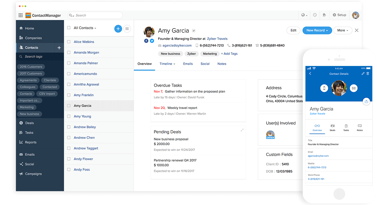 Zoho's Contact Manager helps maintain contacts in a centralized address book, and provides a unified view of related tasks, notes, and emails