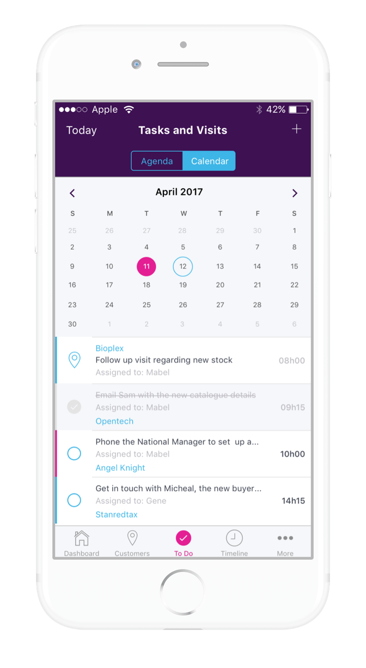 Skynamo Software - The built-in calendar allows management and reps to schedule tasks and customer visits