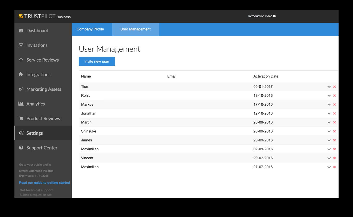 Trustpilot user management