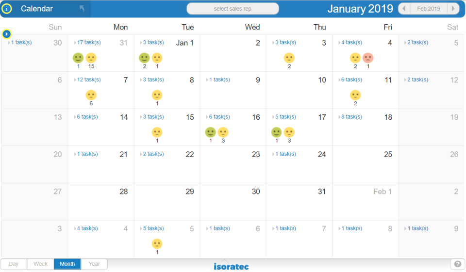 Isoratec screenshot: Isoratec calendar screenshot