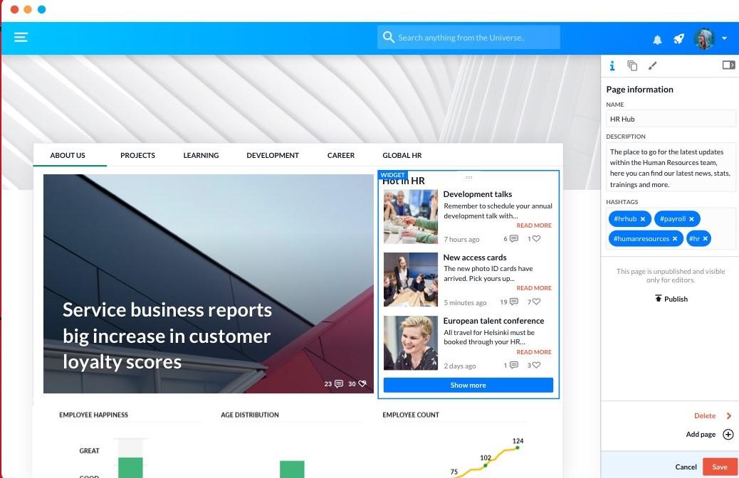 Happeo widget screenshot