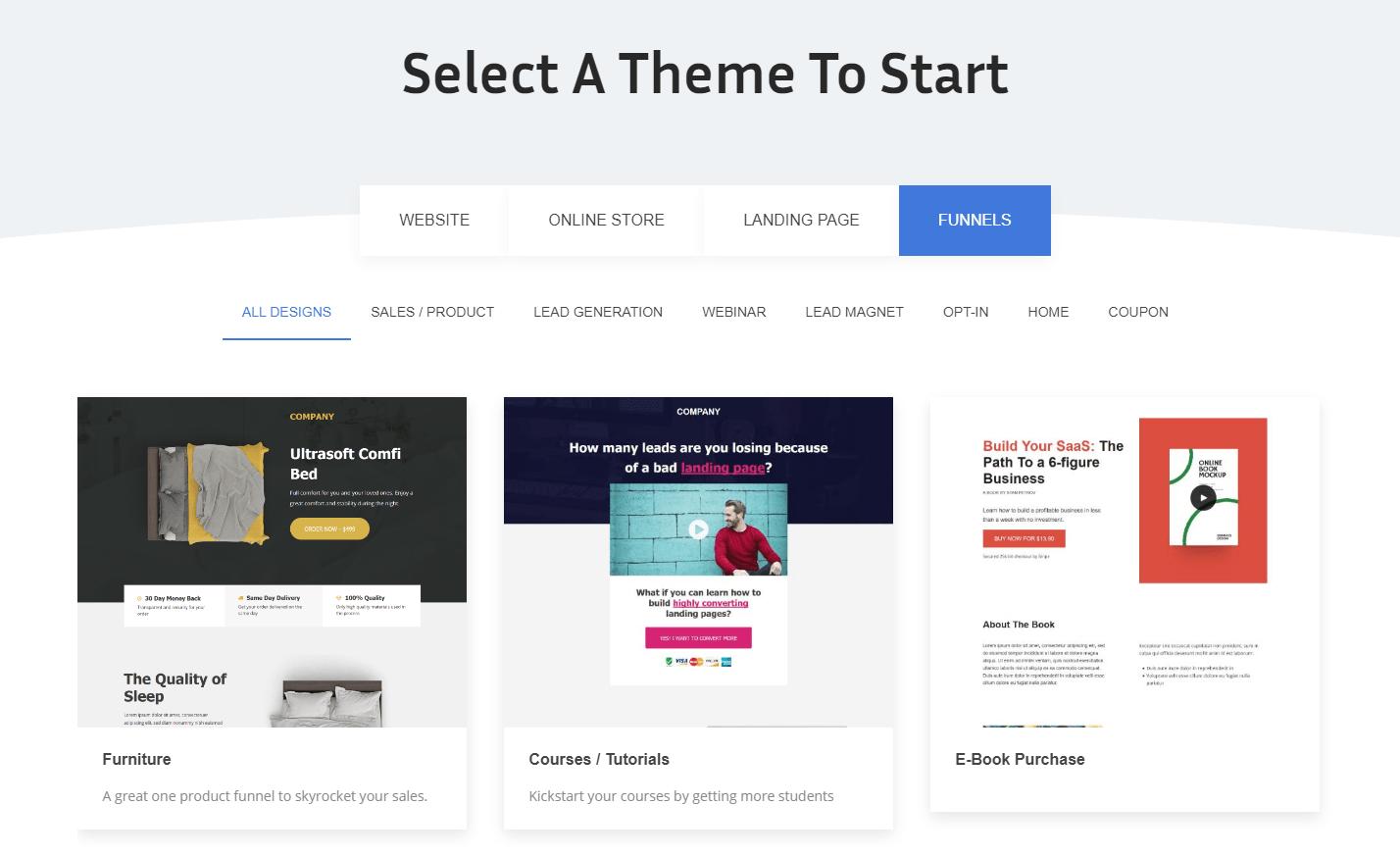 Elite Funnels select a theme