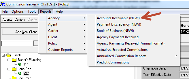 Commission Tracker screenshot: Different reports can be prepared using the software