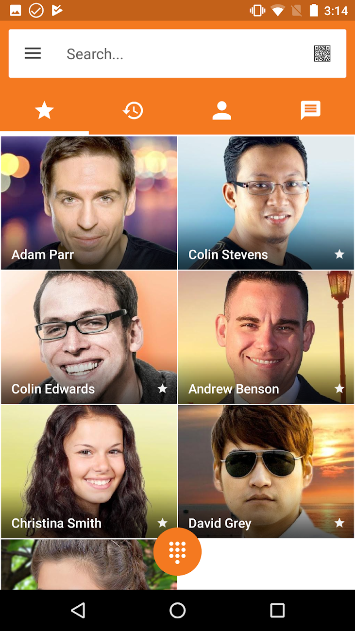 The Zoiper Pro app for Android showing the searchable contacts list, arranged like tiles denoting name and contact photo