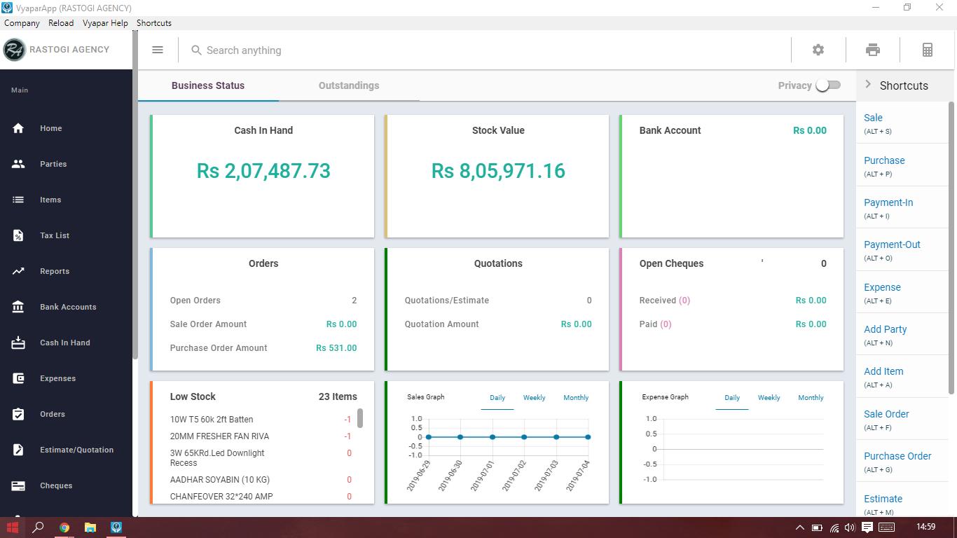 Vyapar Software - Vyapar dashboard screenshot