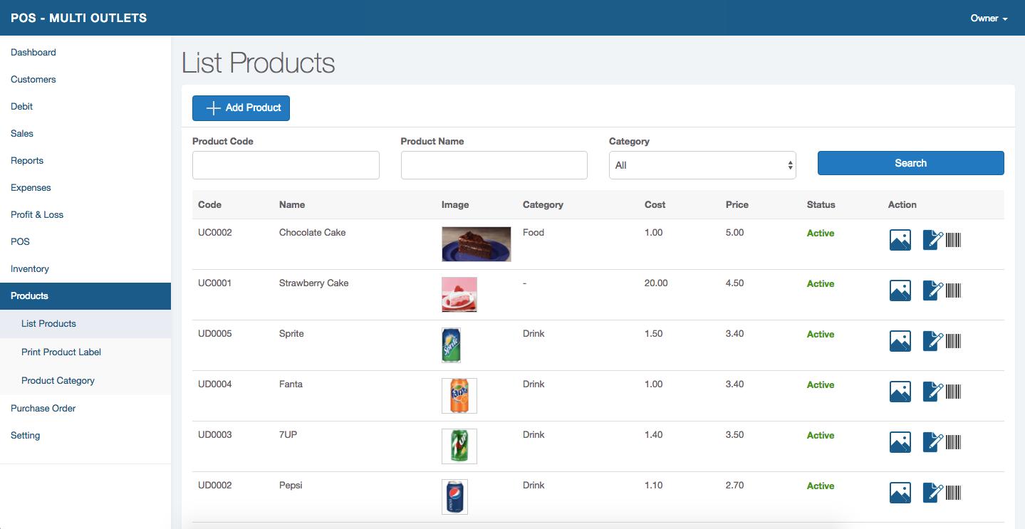 Alfa POS Software - Product Listing