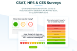 Captura de pantalla de Nicereply: Create and send beautiful one-click surveys to measure Customer Satisfaction, Net Promoter Score and Customer Effort Score.