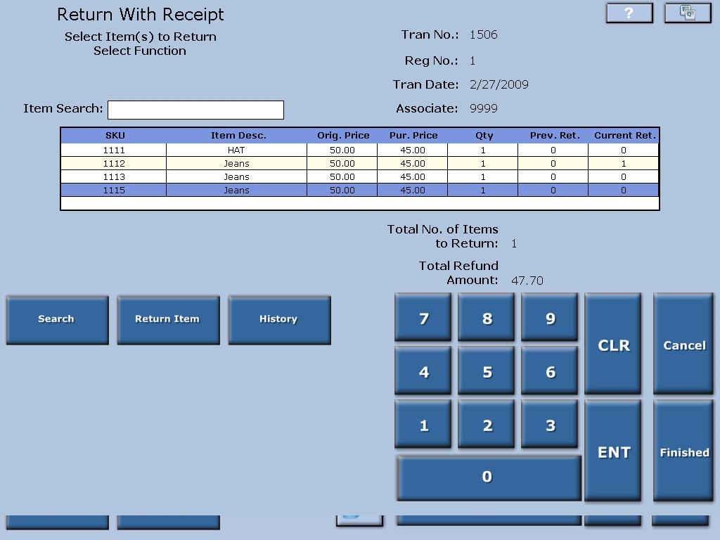 Aptos Retail Merchandising Software - Return Item Entry %>
