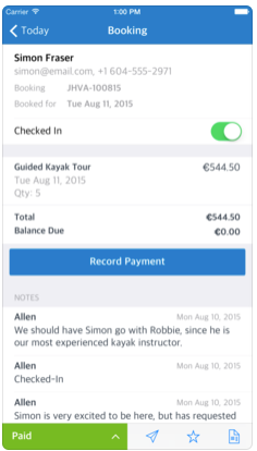 Booking & Payment Management via Mobile