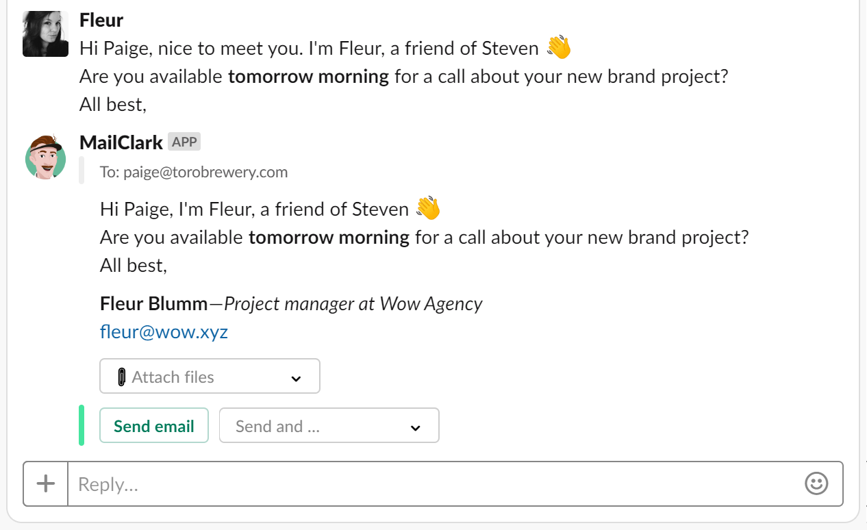Slack - Send out your email or external messages directly within Slack
