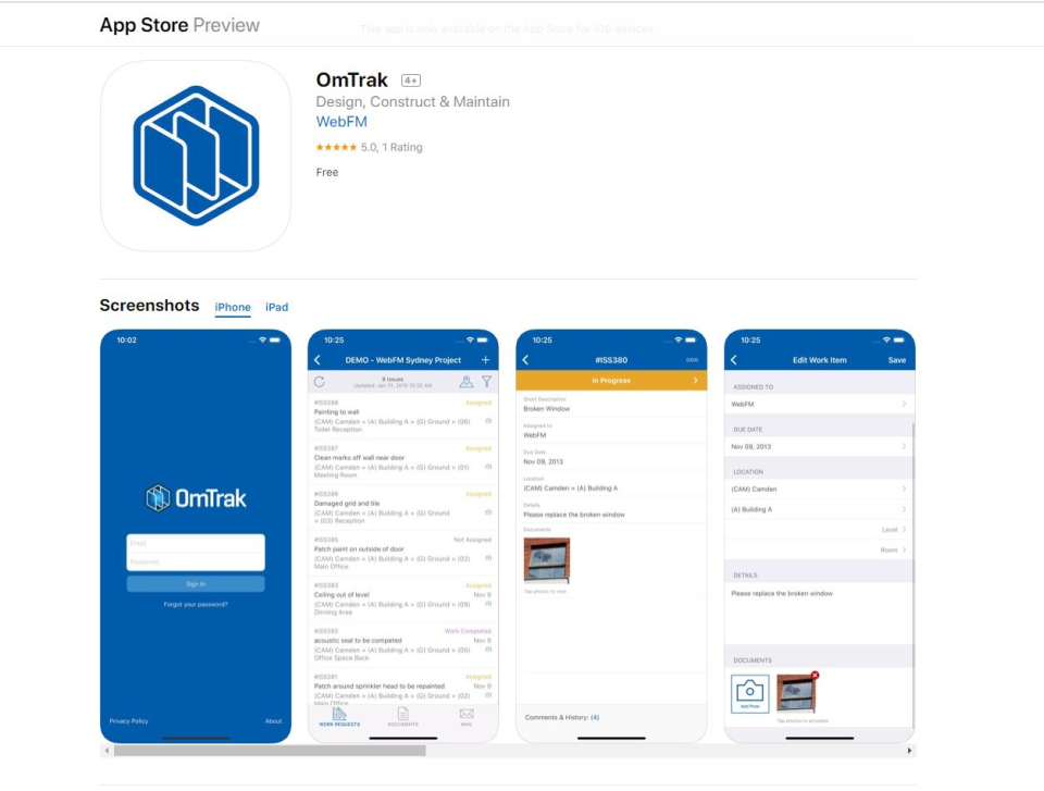 OmTrak Software - App Store and Android