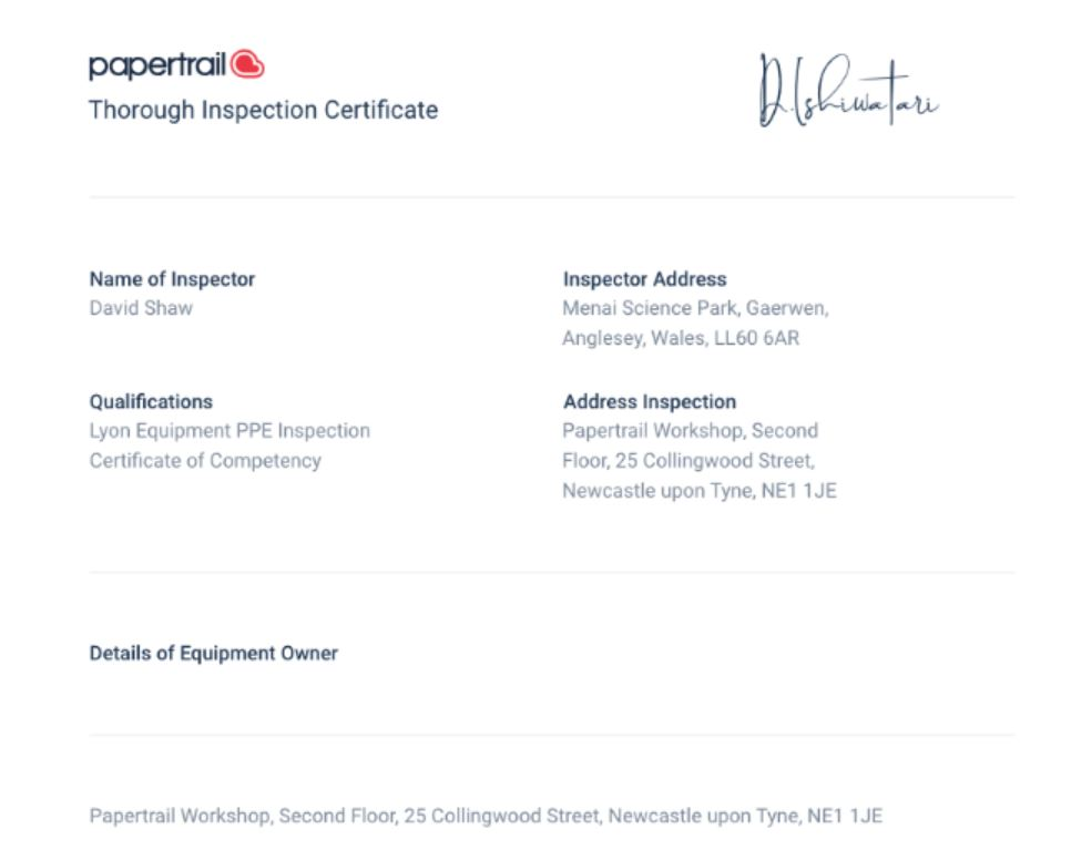 Papertrail inspection certificates
