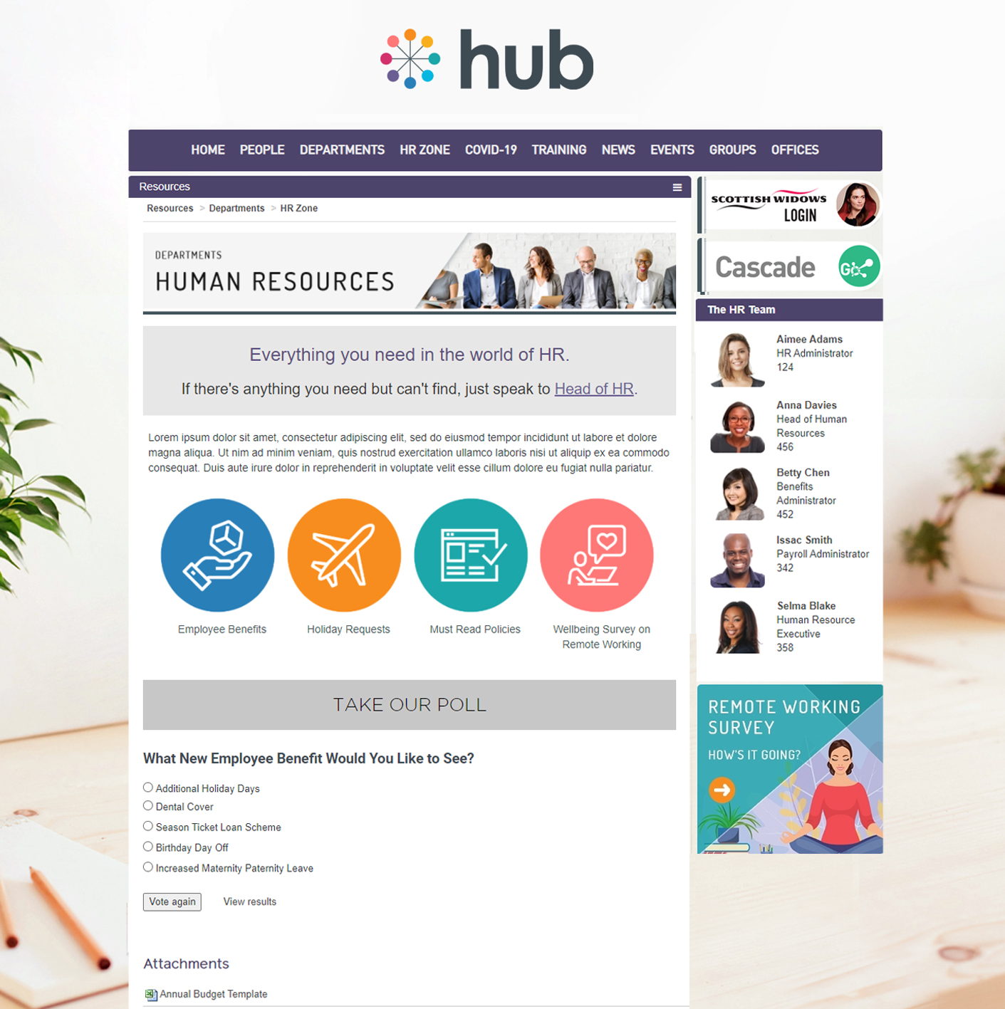 Hub Resource pages  - build department pages, with visual subfolders of relevant information, and embed rich media for data gathering i.e. polls, forms, surveys, assessments etc.