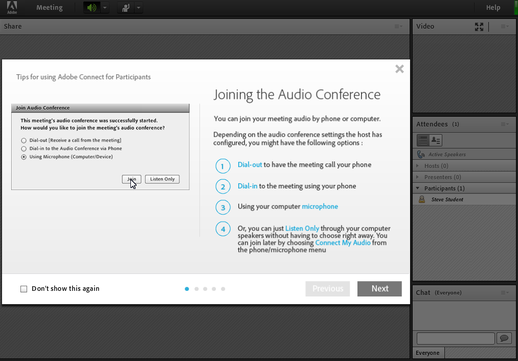 Adobe Connect Software - Joining the audio conference