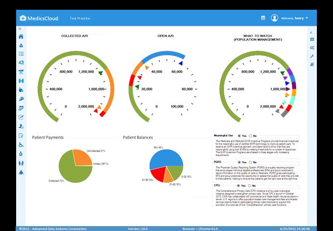 MedicsCloud EHR Software - Medics EHR practice dashboard %>