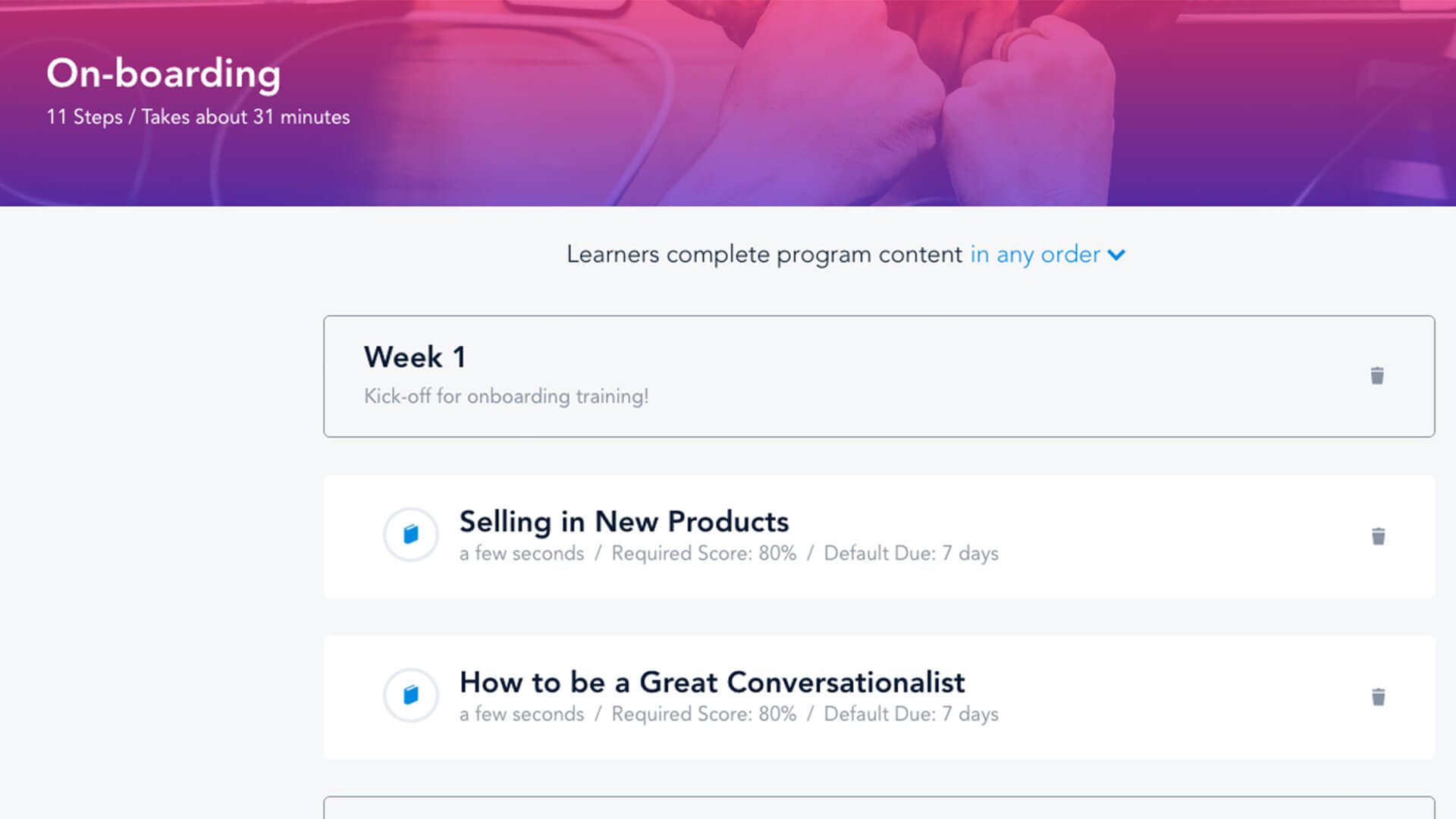 BRIDGE screenshot: ON-BOARDING: Your first encounter with a new employee sets the tone for the rest of their experience with your company. Bridge makes on-boarding & training new employees easy. From day 1, you can assign them courses, assessments & quizzes.