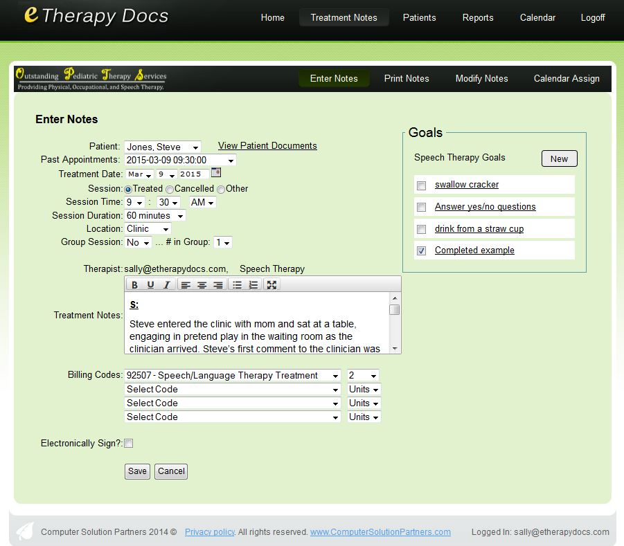 Enter Notes, track patient goals, and easily view previous patient documentation