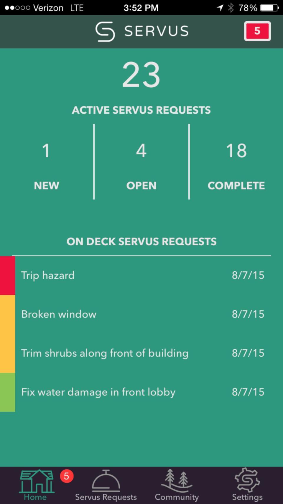 Servus maintenance request