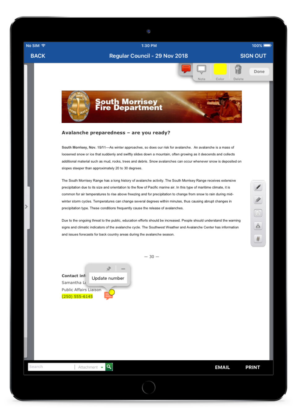 iCompass approval & review for documents screenshot
